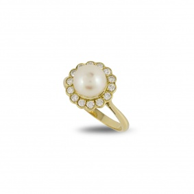 Yellow Gold Pearl and Diamond Set Dress Ring
